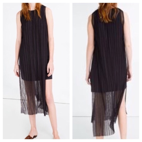 Zara Dresses & Skirts - Zara Pleated Side Slit Sheer Midi Dress Sz Large